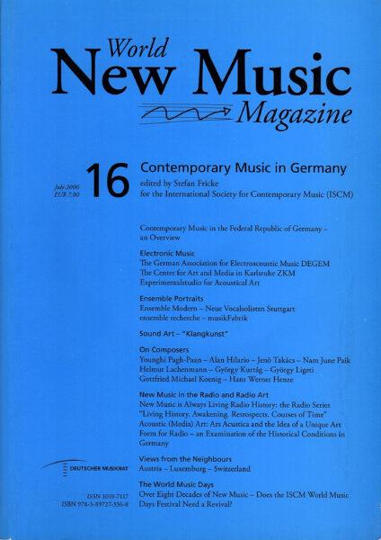 The cover for World New Music Magazine, Issue #16 - Stuttgart