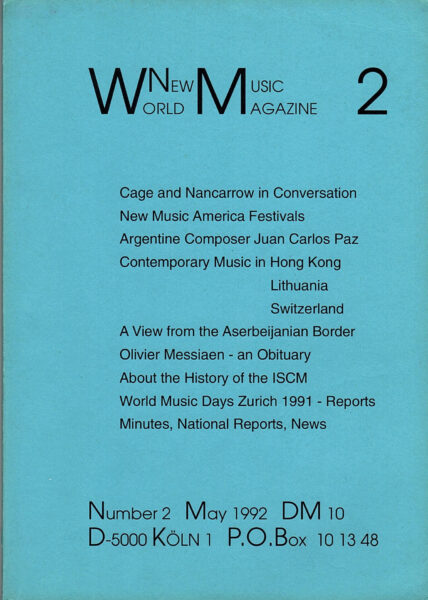 The cover for World New Music Magazine, Issue #2 (1992)