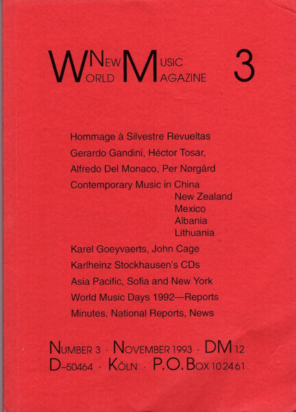 The cover for World New Music Magazine, Issue #3 (1993)