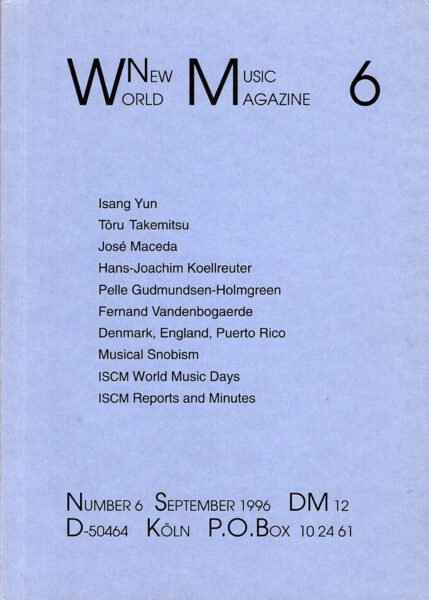 The cover for World New Music Magazine, Issue #6 (1996)