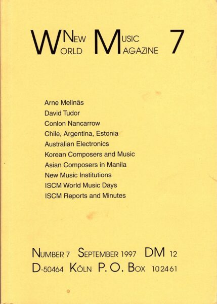 The cover for World New Music Magazine, Issue #7 (1997)