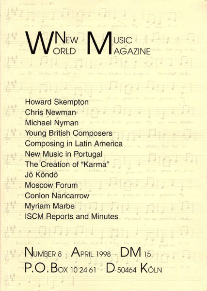 The cover for World New Music Magazine, Issue #8 (1998)