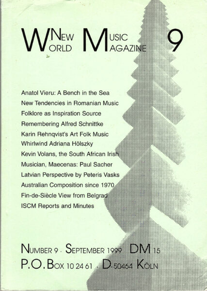 The cover for World New Music Magazine, Issue #9 (1999)