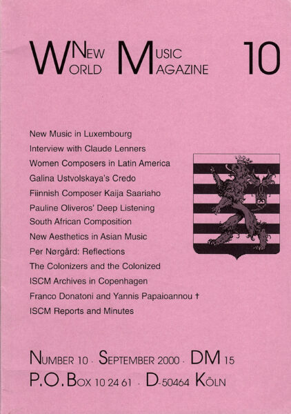 The cover for World New Music Magazine, Issue #10 (2000)