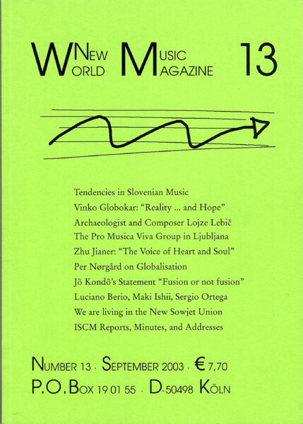 The cover for World New Music Magazine, Issue #13 (2003)