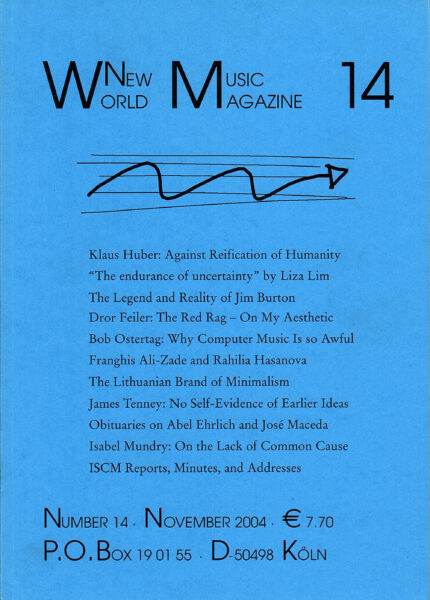 The cover for World New Music Magazine, Issue #14 (2004)