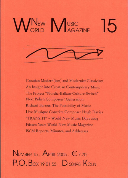 The cover for World New Music Magazine, Issue #15 (2005)