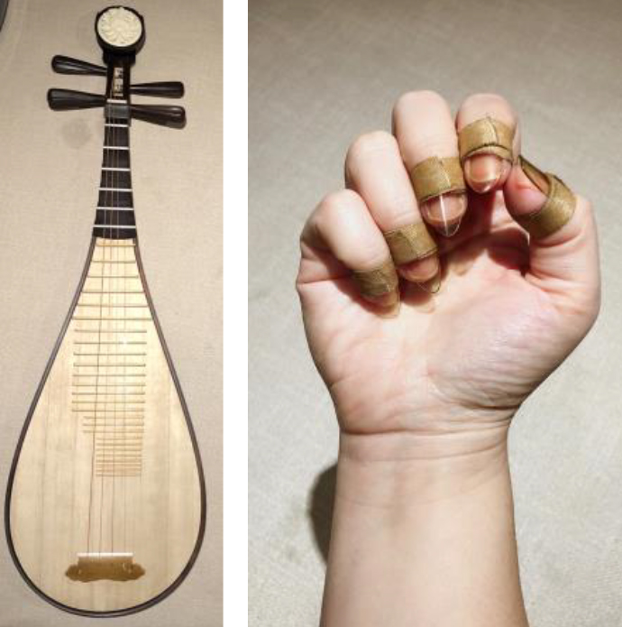 Photographs of a pipa and a hand wearing finger picks